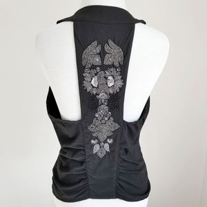 Guess Black Beaded Festival V-Neck Racer-back Vest